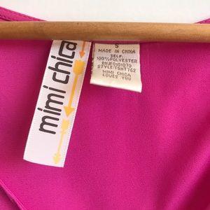 Mimi Chica Tops - Fuschia Open Back Blouse